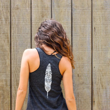 Feather and Wanderlust - Eco-friendly flowy tank top shirt in Eco-black, wanderlust and feather design
