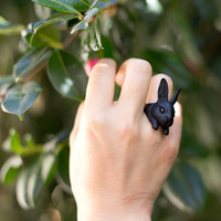 YaciKopo Metal handmade Bunny ring Black