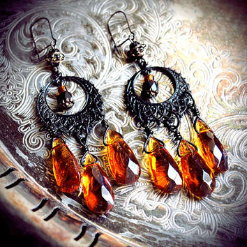 Amber hoop chandeliers, ambler glass drops, gypsy earrings, tribal fusion bellydance, bohemian, boho, Victorian, black filigree