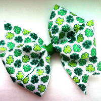 Girls/Baby/Toddler Green Shamrock St. Patrick's Day Pinwheel Hair Bow