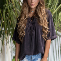 Rose Island Dusty Black Acid Wash Top