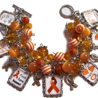 Leukemia Awareness Altered Art Fashion Charm Bracelet Orange Handmade Bracelet