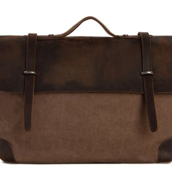 Waxed Canvas Leather Satchel Messenger Bag - Coffee/Coffee