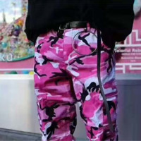 Fashion Casual Loose BDU Street Dance Powder Camouflage Pants 2 Color Pink  G-YF-MLBKS