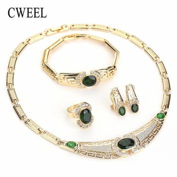 CWEEL Earrings Jewelry Set Green African Beads Women Wedding Gold Color Zircon Fashion Party Turkish Classic Indian Accessories