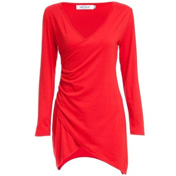 Sexy Plunging Neck Long Sleeve Pure Color Women Wrap Dress