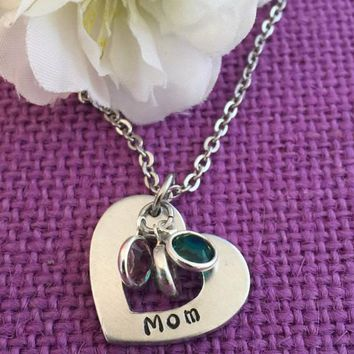 Personalized Mom Necklace - Mother's Day Gift - Birthstone Necklace - Grandmother Necklace - Hand Stamped Jewelry - Gift for Mom