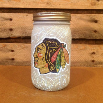 Chicago Blackhawks Mason Jar Light,  Chicago Blackhawks Light, Blackhawks Hockey, Blackhawks Nightlight,  Blackhawks Decor, Blackhawks Gift