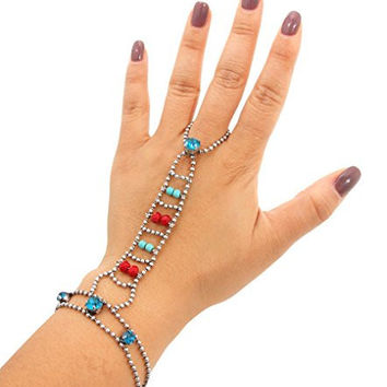 Womens Beaded Hand Chain. Ball Chain Bracelet with Ring. Lobster Clasp Closure. 8 Inches in Length.