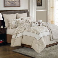 WHITE ROSE BEDDING SET QUEEN - 10 PC.