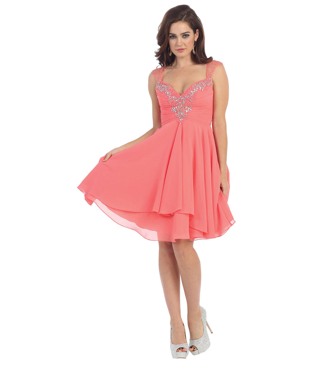 Coral Pink Fun Amp Flirty Short Dress 2015 From Unique Vintage