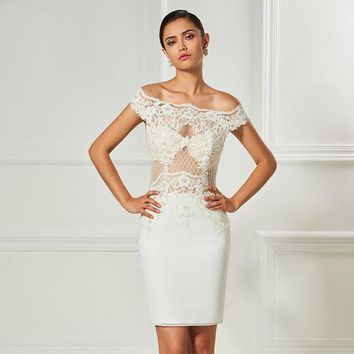Strapless cocktail dresses ivory lace beaded knee length sheath dress women party office short cocktail dress