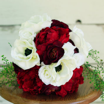 Silk Burgundy Marsala Peony Winter Wedding Bouquet - Marsala Burgundy Anemone Peony and Ranunculus - Silk Bouquet