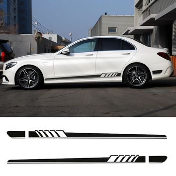 Gloss/5D Carbon Black NEW Edition 1 Style Side Stripe Skirt Sticker for Mercedes Benz C Class W205 C180 C200 C300 C350 C63 AMG