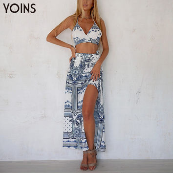 YOINS New 2017 Sexy Women Floral Print V-neck Strappy Crop Tops with Fashion Splited Hem Asymmetric Skirt Women Sets 2 Pieces