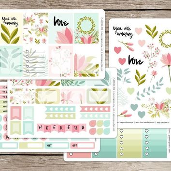 Spring Floral Vinyl Planner Stickers Kit for use with EC Vertical Planners