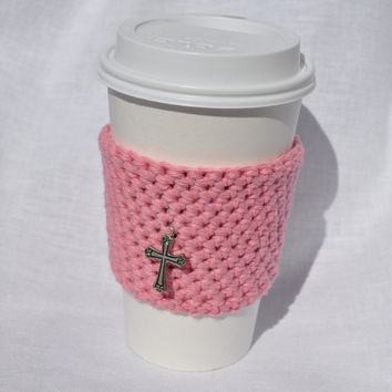 SALE- Rose Pink Reusable Coffee Cup Sleeve