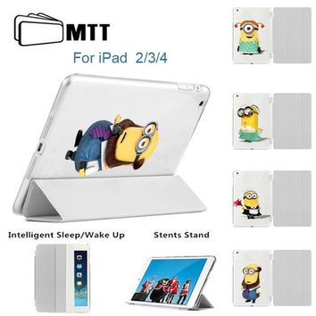 MTT for Apple iPad 2 3 4 Case Minions Filp Stand Smart Case Cover for iPad 4th 3th 2th Generation Automatic Wake/Sleep Feature