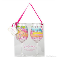 Lily Pulitzer Acrylic Wine Glasses- Meet Me at the Beach