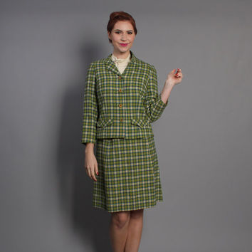 60s Pendleton WOOL Skirt SUIT / PLAID Green, Teal & Cream, s