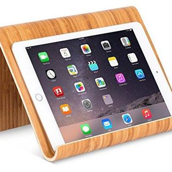 Sofia + Sam Bamboo Tablet Holder and Stand | Natural Wood | Works with iPad Surface etc | Cookbook Book Ereaders Smartphones | Kitchen Table Top | Wire Organizer