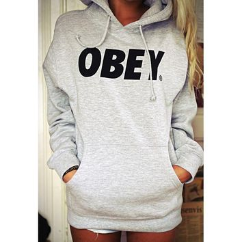 OBEY Casual Long Sleeve Plus Velvet Hooded Top Sweater Pullover Hoodie