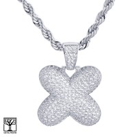 """Jewelry Kay style X Initial Silver Plated Custom Bubble Letter Iced CZ Pendant 24"""" Chain Necklace"""