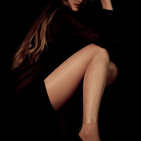 EXCLUSSIVE Hand Printed Tights - Stary Night, Gold on sheer skin color, Flash Back collection