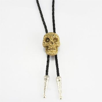 Mens casual bolotie personality leather rope cowboys casual bolo ties Gothic wind unique Skeleton