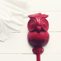 Red Home Decor / Iron Owl Hook / Owl Decor / Wall Hanging Hook / Shabby Chic Decor / Cottage Decor / Red / Woodland / Wall Decor
