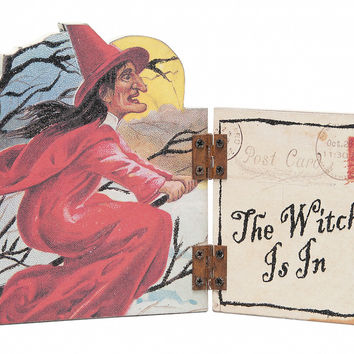 Primitives By Kathy Halloween The Witch Is In Owl Hinged Shelf Sitter