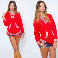Vintage 80s ALPACA Sweater Red Long Sleeve ETHNIC Boho Pull Over Sweater Hippie FRINGE Jumper