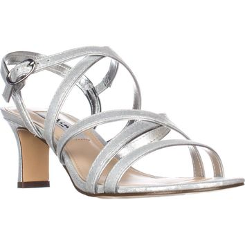 Nina Genaya Strappy Heeled Dress Sandals, Silver Reflection, 9.5 US / 39.5 EU