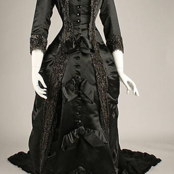 1877 French Bustle Gown Historical Silk Dinner Dress