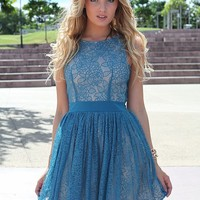 Blue Floral Lace Sleeveless Dress with Cut Out Back Detail