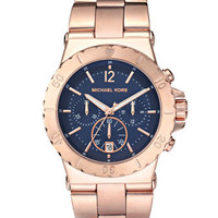 Michael Kors Chronograph Watch, Rose Gold/Navy - Michael Kors