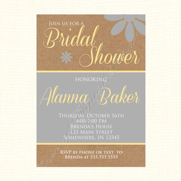 Rustic Yellow & Gray Bridal Shower Invitation. Wedding shower invitation kraft, yellow and gray. Printable Digital DIY Invitation