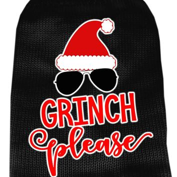 Grinch Please Screen Print Knit Pet Sweater Sm Black Small