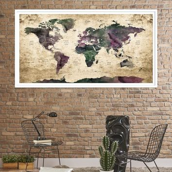 30089 - Large Wall Art World Travel Map Canvas Print - World Map Push Pin Wall Art Canvas Print - Framed Hang on Ready Wall Art Canvas