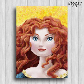 Princess Merida poster disney princess nursery wall art girl room decor