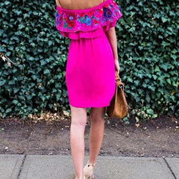 Pink Boho Floral Off Shoulder Cascading Ruffle Backless Fashion Homecoming Party Mini Dress