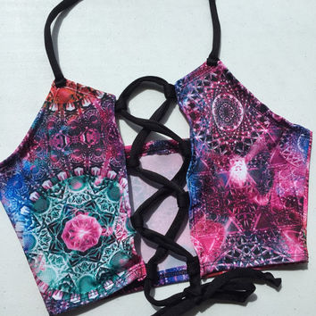 Lace Me Up Sacred Carina Nebula Halter Top - ravewear sacred geometry tomorrowworld edc boho hippie crop top