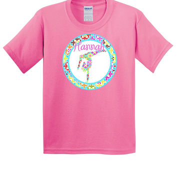 Retro Gymnast Personalized Hot Pink T-Shirt