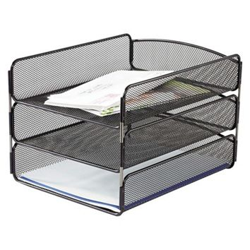 Safco® Three Tiers Steel Mesh Desk Tray, Letter - Black
