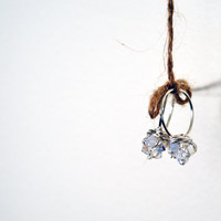Limited Edition - Sparkly White Crystal Rings - Swarovski - Wire Wrapped - Bridal - Everyday Jewelry - Silver Plated - Birthday - Favors