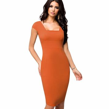 Women Casual Wear To Work Business Bodycon Pencil Dress Summer Classic Full Back Zipper Cap Sleeve Sheath Office Dress E592