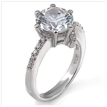 Sterling Silver 1.5 carat Round Cut CZ 6-Prong Set Engagement Ring size 5-9