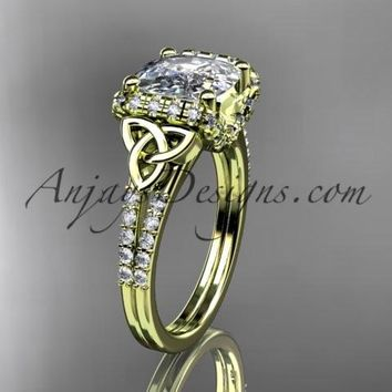 14kt yellow gold diamond celtic trinity knot wedding ring, engagement ring with Cushion Cut Moissanite CT7148