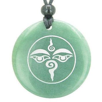 Tibetan Buddha All Seeing Third Wisdom Eye Amulet Green Aventurine Magic Gemston