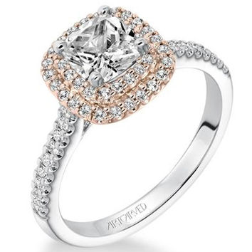 "Artcarved ""Avril"" 14K White And Rose Gold Double Cushion Halo Diamond Engagement Ring"